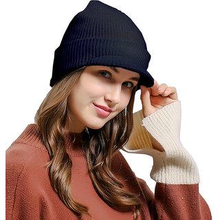 Modo Vivendi Unisex Women Mens Winter Knitted Hat Stretch Warm Beanie Ski Cap With Visor