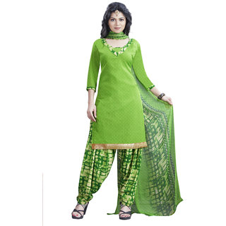 Drapes womens  Green crepe Printed Dress Material (UnStitched) DF2045