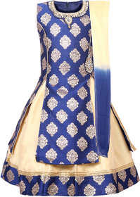 KBKIDSWEAR Blue and Beige Cotton and Denim check phyical product Lehenga Choli Set