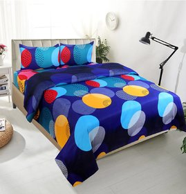 Edifice Couture PolyCotton  Set of 1 3D Printed Multicolor Double Bedsheet With 2 Pillow Covers