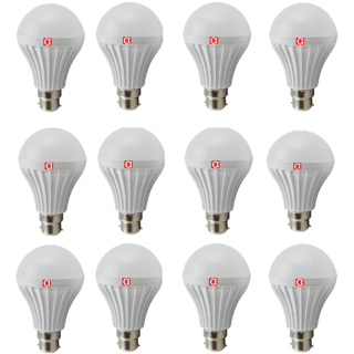 Alpha Combo of 9 Watt LED Bulb pack of 12 with One Year Replacement Warranty