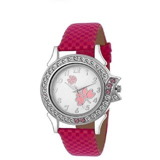 Pink Fabric Velvet Women Analog watch for Girls and Ladies Watch - For Women