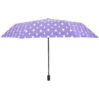 Home Story Designer UV Coated 3-Fold Travel Color Changing Umbrella 110 cm Lilac Purple Color