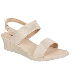 Estatos Pu Beige Coloured Buckle Closure Sandals