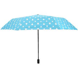 Home Story Designer UV Coated 3-Fold Travel Color Changing Umbrella 110 cm Cadet Blue Color