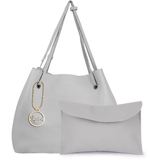 Elprine Elegant Light Grey Women's Shoulder Bag With Small Handy Pouch 2 Pieces Combo