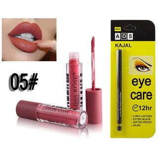 Miss Rose Liquid Matte Lip Gloss + Long Lasing 12Hr Kajal