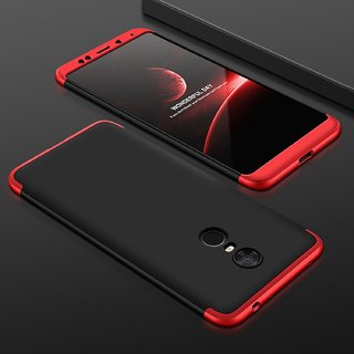 new arrival f0152 6f7e6 BRAND FUSON RedMi Note 5 Front Back Case Cover Original Full Body 3-In-1  Slim Fit Complete 3D 360 Degree Protection Hybrid Hard Bumper (Black Red)  ...