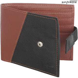 SPAIROW MenS Leather Wallet (REMO-0101_Black)