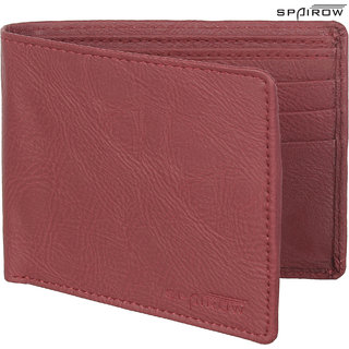 SPAIROW MenS Leather Wallet (TEX-0105_Red)