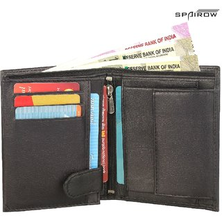 SPAIROW MenS Genuine Leather Wallet BOOK FOLD (BK-0101_Black)
