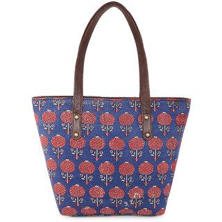 Vivinkaa Ethnic Printed Blue Dahlia floral Tote bag