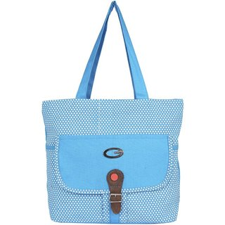 Aliado Cloth Fabric Blue Coloured Zipper Closure Handbag P113V709