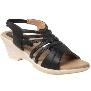 MSC Women Synthetic Black wedges
