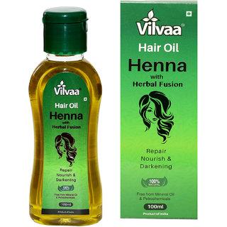 Vilvaa Hair Oil Henna with Herbal Fusion - 100ml (Repair Nourish  Darkening, 100  Natural)