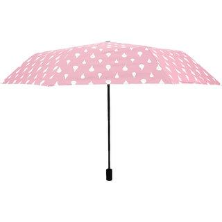 Home Story Designer UV Coated 3-Fold Travel Color Changing Umbrella 110 cm Blush Pink Color