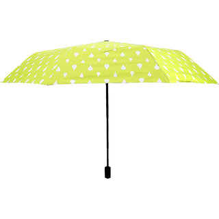 Home Story Designer UV Coated 3-Fold Travel Color Changing Umbrella 110 cm Lime Green Color
