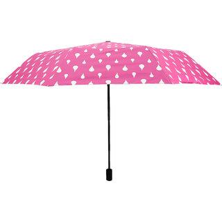 Home Story Designer UV Coated 3-Fold Travel Color Changing Umbrella 110 cm Fuscia Pink Color