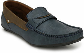 Evolite Blue Faux Leather Casual Loafers for Men's
