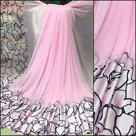 Meia Pink Georgette Printed Saree With Blouse