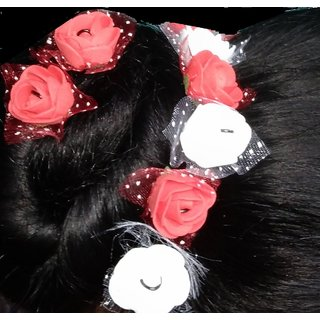 50%off Deo Light Bright Red white Orchid Flower Hair Clips Pack of 24  pieces looks like Natural 03e5f4002cdd7