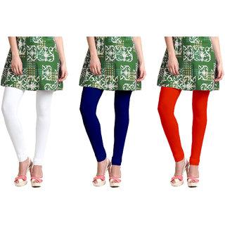Omikka Stylish Women's Popular 160 GSM Stretch Bio-Wash Churidar Leggings - Regular and 20+ Best Selling Colors Pack of 3 (Free Size)