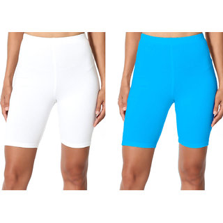 Omikka Bio-Wash 220 GSM Extra Soft Knee Length Capri's Pack of 2-20+ Best Selling Colors (Free Size)