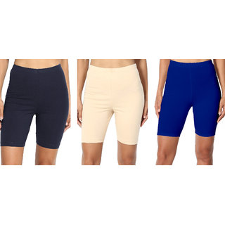 Omikka Bio-Wash 220 GSM Super Soft Knee Length Capri Pack of 3-20+ Best Selling Colors - (Free Size)