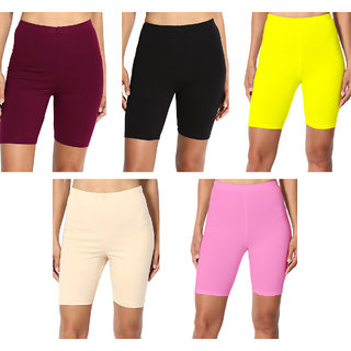 Omikka Bio-Wash 220 GSM Active Slim Extra Soft Cotton Lycra Comfortable Stretch Knee Length Capri's Pack of 5 (Free Size)
