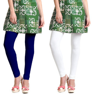 Omikka Stylish Women's Popular 160 GSM Stretch Bio-Wash Churidar Leggings - Regular and 20+ Best Selling Colors Pack of 2 (Free Size)