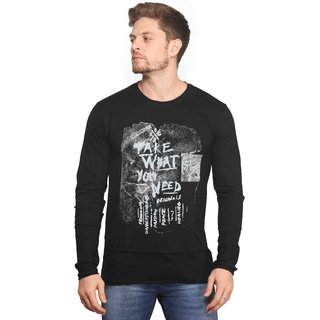 Mr.Stag Printed Mens Round Neck Black Full Sleeves T-Shirt Medium