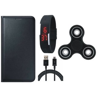 Redmi Note 4 Premium Leather Cover with Spinner, Digital Watch and USB Cable
