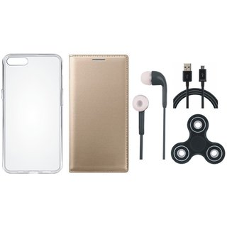 Redmi Note 4 Sleek Leather Cover with Spinner, Silicon Back Cover, Earphones and USB Cable