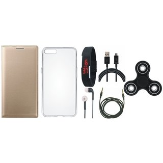 Redmi Note 4 Sleek Leather Cover with Spinner, Silicon Back Cover, Digital Watch, Earphones, USB Cable and AUX Cable