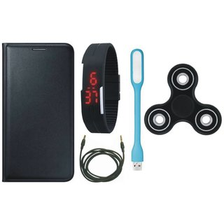 Redmi Note 4 Premium Leather Cover with Spinner, Digital Watch, USB LED Light and AUX Cable
