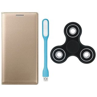 Redmi Note 4 Sleek Leather Cover with Spinner, USB LED Light