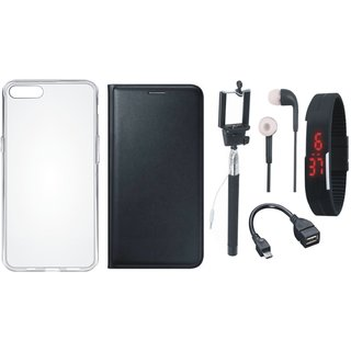 Redmi Note 4 Premium Quality Leather Cover with Silicon Back Cover, Selfie Stick, Digtal Watch, Earphones and OTG Cable