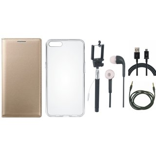 Redmi Note 4 Stylish Cover with Silicon Back Cover, Selfie Stick, Earphones, USB Cable and AUX Cable