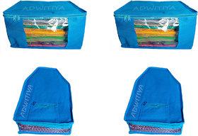 ADWITIYA Combo- Plain Nonwoven 2 Pcs Saree and 2 Pcs Blouse Salwar Suit Shirt Jeans Bedsheet Garment Cloth Cover (Blue)