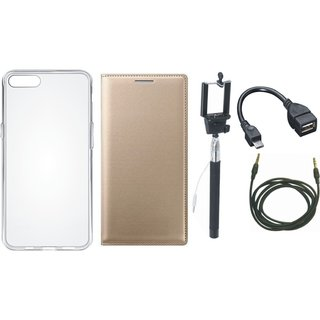 Redmi Note 4 Leather Flip Cover with Silicon Back Cover, Selfie Stick, OTG Cable and AUX Cable by Vivacious