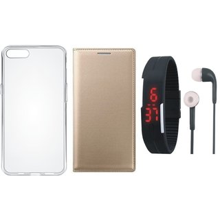 Redmi Note 4 Premium Quality Leather Cover with Silicon Back Cover, Digital Watch and Earphones by Vivacious