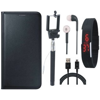 Redmi Note 4 Stylish Leather Flip Cover with Selfie Stick, Digtal Watch, Earphones and USB Cable by Vivacious