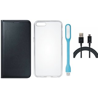 Redmi 4 Leather Flip Cover with Silicon Back Cover, USB LED Light and USB Cable