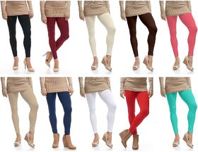 Omikka Stylish Women's Popular 160 GSM Stretch Bio-Wash Ankle Length Leggings - Regular and 20+ Best Selling Colors Pack of 10 (Free Size)