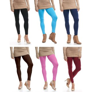 Omikka Stylish Women's Popular 160 GSM Stretch Bio-Wash Ankle Length Leggings - Regular and 20+ Best Selling Colors Pack of 6 (Free Size)