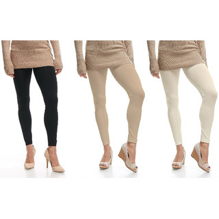 Omikka Stylish Women's Popular 160 GSM Stretch Bio-Wash Ankle Length Leggings - Regular and 20+ Best Selling Colors Pack of 3 (Free Size)