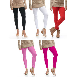 Omikka Stylish Women's Popular 160 GSM Stretch Bio-Wash Ankle Length Leggings - Regular and 20+ Best Selling Colors Pack of 5 (Free Size)