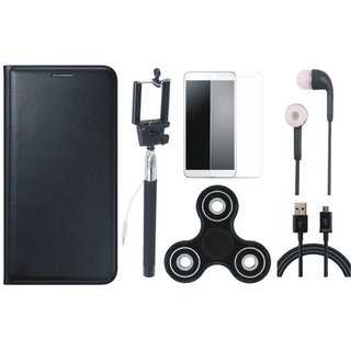 Vivo Y53 Sleek Leather Cover with Free Spinner, Selfie Stick, Tempered Glass, Earphones and USB Cable by Vivacious