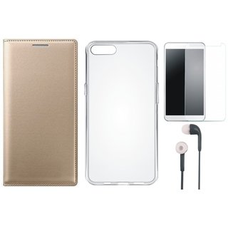 Vivo Y53 Leather Flip Cover with Silicon Back Cover, Tempered Glass and Earphones by Vivacious