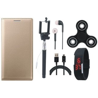 Redmi 4 Stylish Leather Cover with Spinner, Selfie Stick, Digtal Watch, Earphones and USB Cable by Vivacious